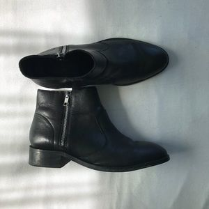 ASOS Black Wide Fit Leather Zip Ankle Boots
